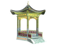 asiatisk paviljong stock illustrationer