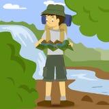 Asiatisk pojke med ryggsäcken Royaltyfria Bilder