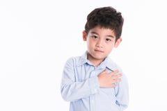 Asiatisk pojke - olika bilder av isolering Royaltyfri Bild