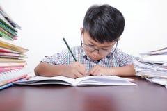 Asiatisk pojke som allvarligt studerar på en skrivbord- och vitbakgrund Royaltyfria Foton