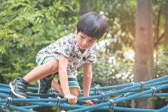 Asiatisk pojkeklättring på repbron i lekplats Arkivfoton