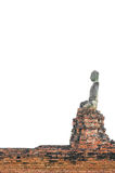 Asiatisk religiös konst Forntida sandstenskulptur av Buddha på Wat Mahathat fördärvar Forntida sandstenskulptur av Buddhavit Arkivbilder