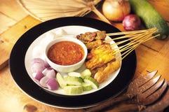 asiatisk satay bbq-mat Fotografering för Bildbyråer
