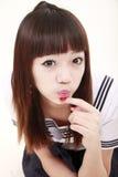 asiatisk schoolgirl Fotografering för Bildbyråer