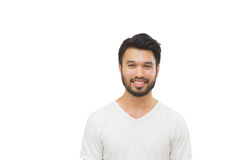 Asiatisk stilig man med en mustasch som ler och skrattar isolaten royaltyfri bild