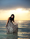 asiatisk strandskönhet Arkivfoton
