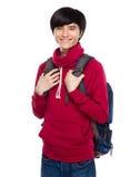 Asiatisk student med ryggsäcken Royaltyfri Fotografi