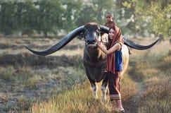 Asiatisk thailändsk) bonde för kvinna (med en buffel arkivbilder