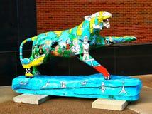 Asiatisk Themed hand målade Tiger Statue, Memphis Tennessee Royaltyfria Bilder