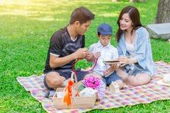 Asiatisk tonårig läxa för familjundervisningson medan picknick royaltyfria bilder