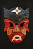 Asiatisk traditionell träröd målad demonmaskering Royaltyfria Foton