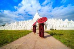 Asiatisk ung munk som två rymmer röda paraplyer på Mya Thein Tan arkivfoto