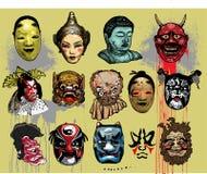 asiatiska östliga maskeringar royaltyfri illustrationer