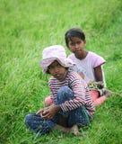 Asiatiska barn som spelar på risfält Royaltyfri Fotografi