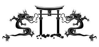 asiatiska drakar stencil torii Royaltyfri Fotografi