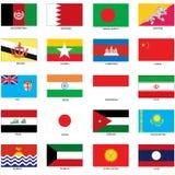 Asiatiska flaggor Royaltyfri Fotografi