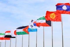 asiatiska flaggor Arkivfoto