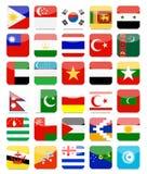 Asiatiska flaggor sänker fyrkantig symbolsuppsättning 2 stock illustrationer