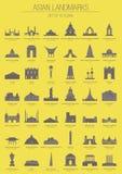 Asiatiska gränsmärken stock illustrationer