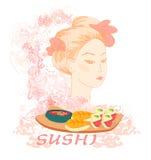 asiatiska härliga flickasushi Arkivbild