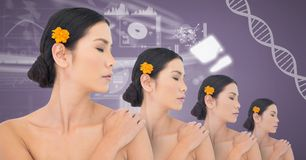 Asiatiska kvinnor för klon med genetiskt DNA Arkivbild