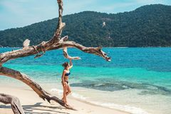 Asiatiska kvinnor som kopplar av i sommarferie p? stranden royaltyfria bilder