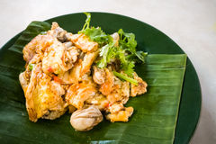 Asiatiska läckra stekte ostron med äggomelettkokkonst Royaltyfri Foto