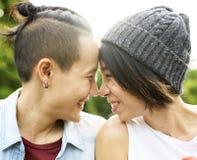 Asiatiska lesbiska par för LGBT royaltyfri foto