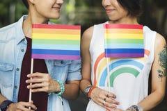 Asiatiska lesbiska par för LGBT Arkivfoto