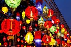 Asiatiska lyktor i lyktafestival arkivbilder