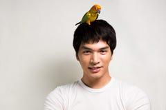 Asiatiska män med papegojan - sol Conure Fotografering för Bildbyråer
