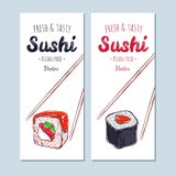 Asiatiska matbaner Dragen vektorhand, sushi stock illustrationer