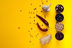 Asiatiska matingredienser och kryddor på en ljus gul bakgrund Begreppet av den populäraste disken i världen, kopieringsutrymme Royaltyfri Foto