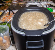 Asiatiska partifoods med färgrika räka och klibbiga ris Arkivfoto