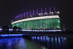 Asiatiska spelenstadion på natten, Guangzhou, Kina Royaltyfri Foto