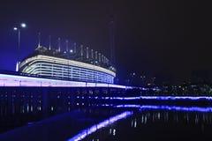 Asiatiska spelenstadion på natten, Guangzhou, Kina Arkivfoton
