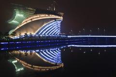 Asiatiska spelenstadion på natten, Guangzhou, Kina Arkivbild