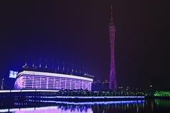 Asiatiska spelenstadion på natten, Guangzhou, Kina Arkivbilder
