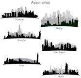 asiatiska stadshorisonter stock illustrationer