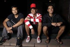 asiatiska vänner tre tillsammans arkivfoto