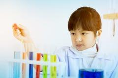 Asiatiskt barn som spelar forskaren med färgrika labbrör royaltyfria bilder