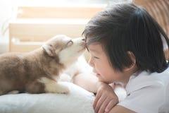 Asiatiskt barn som spelar med den siberian skrovliga valpen royaltyfri fotografi