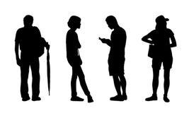 Asiatiskt folk som står utomhus- konturuppsättning 6 royaltyfri illustrationer