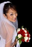 asiatiskt härligt brudbröllop Fotografering för Bildbyråer