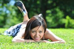 asiatiskt härligt model utomhus Royaltyfria Foton