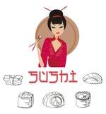 asiatiskt härligt tycker om flickasushi Arkivbild