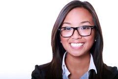 asiatiskt le för affärskvinna Arkivfoto