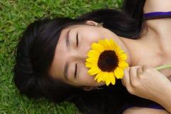 asiatiskt lukta för blommalady royaltyfria bilder