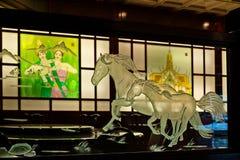 Asiatiskt restaurangkonstverk Arkivfoton