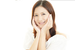 asiatiskt ståendekvinnabarn royaltyfria bilder